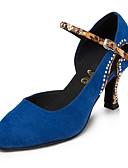 זול תחתוני נשים-בגדי ריקוד נשים נעלי ריקוד ניילון נעליים מודרניות ריינסטון עקבים עקב רחב מותאם אישית כחול / הצגה