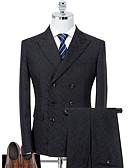hesapli Takım Elbiseler-Siyah Solid Standart Kalıp Polyester Takım elbise - Zirve Çift Yakalı Altı Düğme