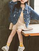cheap Girls' Tops-Kids Toddler Girls' Basic Street chic Daisy Jacquard Bow Ruched Short Cotton Spandex Suit & Blazer Blue