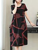 hesapli Mini Elbiseler-Kadın's Temel Kombinezon Kılıf Elbise - Geometrik Zıt Renkli Midi