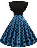 hesapli Vintage Kraliçesi-Kadın's Vintage A Şekilli Elbise Kırk Yama Diz-boyu