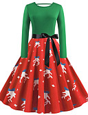 hesapli Vintage Kraliçesi-Kadın's Vintage Temel Çan Elbise - Çiçekli Soyut Diz-boyu