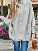povoljno Ženski džemperi-Žene Jednobojni Dugih rukava Kardigan, Uz vrat Blushing Pink / Bež / Sive boje XL / XXL / XXXL