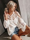 hesapli Bluz-Kadın's Bluz Dantel, Solid Zarif Beyaz