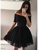 hesapli NYE Elbiseleri-Kadın's Sokak Şıklığı Zarif A Şekilli Elbise - Solid, Büzgülü Diz üstü