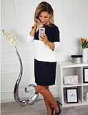 hesapli Kadın Elbiseleri-Kadın's Temel Pamuklu Kombinezon Elbise - Çizgili Diz-boyu