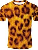 hesapli Erkek Tişörtleri ve Atletleri-Erkek Yuvarlak Yaka Tişört 3D Temel AB / ABD Beden Sarı / Kısa Kollu