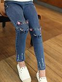 זול מכנסיים וטייץ לבנות-ג'ינס אחיד בסיסי בנות ילדים