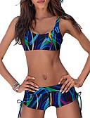hesapli Bikiniler ve Mayolar-Kadın's Havuz YAKUT Tankini Mayolar - Zıt Renkli S M L Havuz