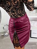 abordables Pantalons Femme-Femme Sexy Polyuréthane Moulante Jupes - Mosaïque Dentelle / Fermeture éclair Marron Noir Rouge M L XL / Mince