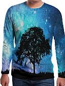 hesapli Erkek Tişörtleri ve Atletleri-Erkek Yuvarlak Yaka Tişört Desen, Galaksi / Zıt Renkli / 3D AB / ABD Beden Havuz / Uzun Kollu