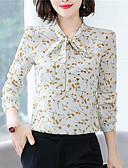 hesapli Tişört-Kadın's V Yaka Gömlek Fiyonklar / Desen, Çiçekli Çin Stili Havuz
