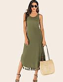 hesapli Mini Elbiseler-Kadın's Temel A Şekilli Elbise - Solid, Püskül Bölünmüş Midi