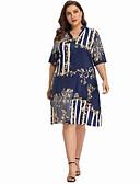 hesapli Büyük Beden Elbiseleri-Kadın's Kombinezon Elbise - Geometrik Diz-boyu