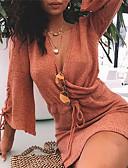 hesapli Mini Elbiseler-Kadın's Örgü İşi Elbise - Solid Diz üstü