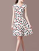 hesapli Print Dresses-Kadın's Gömlek Elbise - Yuvarlak Noktalı, Desen Diz-boyu
