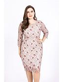 זול שמלות במידות גדולות-מעטפת \ עמוד עם תכשיטים באורך  הברך פוליאסטר מסיבת קוקטייל שמלה עם על ידי LAN TING Express