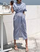 hesapli Maksi Elbiseler-Kadın's Sokak Şıklığı Gömlek Elbise - Çizgili, Kırk Yama Midi Beyaz Mavi