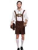 hesapli Oktoberfest-Kasım Festivali Kıyafetler Lederhosen Erkek Bluz Pantalonlar Bavyera Kostüm Kahverengi