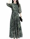 hesapli Print Dresses-Kadın's Çan Elbise - Geometrik, Desen Maksi