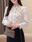 hesapli Gömlek-Kadın's Bluz Fırfırlı, Yuvarlak Noktalı Beyaz