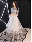 povoljno Maxi haljine-A-kroj Ovalni izrez Do sredine lista Saten / Til / Sa šljokicama Koktel zabava Haljina s po LAN TING Express