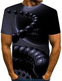"""זול חולצות לגברים-קולור בלוק / 3D / גראפי צווארון עגול סגנון רחוב / מוּגזָם מועדונים האיחוד האירופי / ארה""""ב גודל טישרט - בגדי ריקוד גברים דפוס כחול נייבי / שרוולים קצרים"""