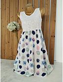 hesapli Print Dresses-Kadın's Temel Kayakçı Elbise - Yuvarlak Noktalı Mini
