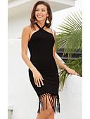 hesapli Kadın Elbiseleri-Kadın's Bandaj Elbise - Solid, Püskül Diz üstü