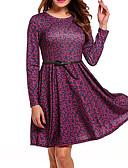 hesapli Maksi Elbiseler-Kadın's A Şekilli Elbise - Çiçekli Diz üstü