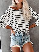 hesapli Tişört-Kadın's Pamuklu Salaş - Tişört Kırk Yama, Çizgili Temel / Zarif Siyah ve Beyaz Beyaz