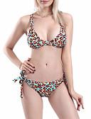 저렴한 비키니 & 수영복-여성용 브라운 탱키니 수영복 - 레오파드 S M L 브라운