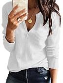billige Skjorter til damer-Dame Ensfarget Langermet Pullover, V-hals Navyblå / Grå / Gul XXXL / XXXXL / XXXXXL