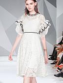 hesapli Kadın Elbiseleri-Kadın's Temel Zarif A Şekilli Çan Elbise - Solid Zıt Renkli, Dantel Kırk Yama Desen Diz-boyu
