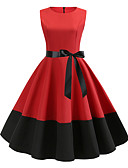 hesapli Vintage Kraliçesi-Kadın's Vintage Sokak Şıklığı Şifon Elbise - Solid, Bağcık Midi