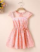 halpa Vauvojen mekot-Vauva Tyttöjen Perus Kukka Silmukka Lyhythihainen Reisipituinen Mekko Punastuvan vaaleanpunainen