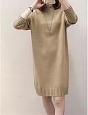 ieftine Tricou-Pentru femei Mată Manșon Lung Plover, Guler Pe Gât Primăvară / Toamnă Kaki / Roz Îmbujorat / Alb Mărime unică