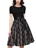 hesapli Vintage Kraliçesi-Kadın's sofistike Zarif Çan Elbise - Geometrik, Dantel Fiyonklar Çoklu Katman Diz-boyu