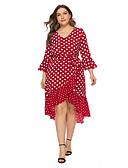 halpa Pluskokoiset mekot-Naisten A-linja Mekko - Polka Dot, Röyhelö Epäsymmetrinen