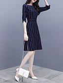 hesapli Print Dresses-Kadın's Gömlek Elbise - Çiçekli, Desen Maksi