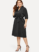 hesapli Büyük Beden Elbiseleri-Kadın's A Şekilli Elbise - Solid Diz-boyu