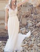 povoljno Vjenčanice-A-kroj V izrez Jako kratki šlep Šifon / Čipka Izrađene su mjere za vjenčanja s Perlica / Drapirano po LAN TING Express