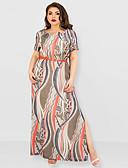 זול בגדי ים במידות גדולות-מקסי טלאים דפוס, שבטי - שמלה ישרה נדן וינטאג' מתוחכם בגדי ריקוד נשים