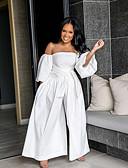hesapli Kadın Tulumları-Kadın's Beyaz Tulumlar, Solid M L XL