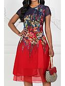 hesapli Print Dresses-Kadın's Büyük Bedenler Dışarı Çıkma Şifon Elbise - Çiçekli, Çoklu Katman Desen Midi Diz-boyu