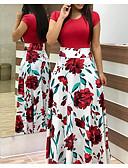 hesapli Print Dresses-Kadın's Temel Çan Elbise - Geometrik, Kırk Yama Maksi