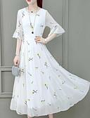 hesapli Print Dresses-Kadın's Temel Çin Stili A Şekilli Çan Elbise - Zıt Renkli, Desen Midi