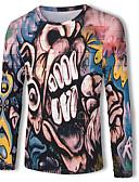 hesapli Erkek Tişörtleri ve Atletleri-Erkek Yuvarlak Yaka Tişört Desen, Zıt Renkli / 3D / Karton Temel / Sokak Şıklığı AB / ABD Beden Gökküşağı / Uzun Kollu