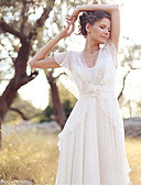 abordables robe mariage civil-Trapèze Col en V Traîne Brosse Mousseline de soie Robes de mariée sur mesure avec Billes / Appliques par LAN TING Express