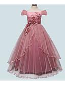 זול שמלות לילדות פרחים-נסיכה עד הריצפה שמלה לנערת הפרחים  - פוליאסטר / פולי שרוולים קצרים סירה מתחת לכתפיים עם אפליקציות על ידי LAN TING Express